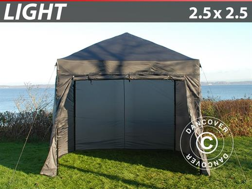 Foldetelt FleXtents Light 2,5x2,5m Grå, inkl. 4 sider