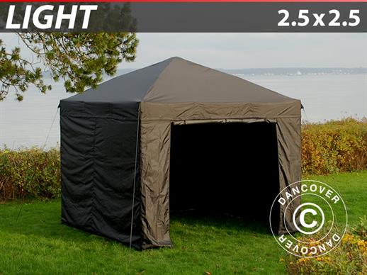Pop up gazebo FleXtents Light 2.5x2.5 m Black, incl. 4 sidewalls