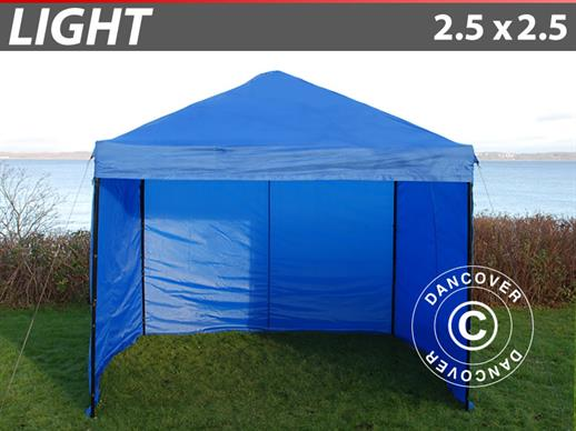 Pop up gazebo FleXtents Light 2.5x2.5 m Blue, incl. 4 sidewalls