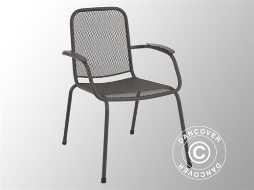 Chair with armrests, Lopo, 60.5x71x83.5, 4 pcs., Iron Grey