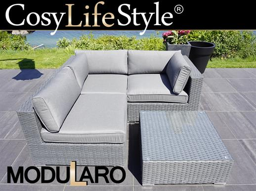 Poly rattan Lounge Set I, 4 modules, Modularo, Grey