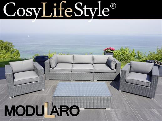 Poly rattan Lounge Set I, 6 modules, Modularo, Grey
