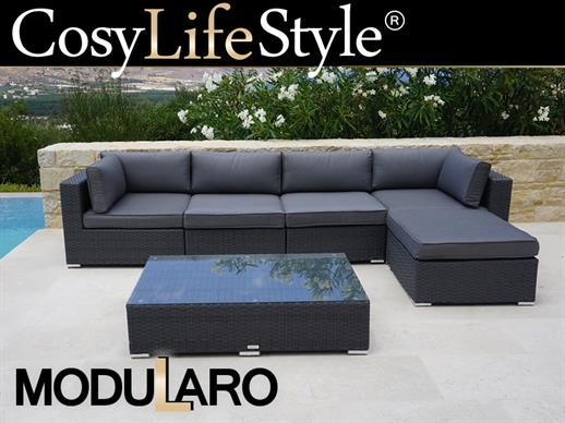 Salon de jardin en poly rotin III, 6 modules, Modularo, gris