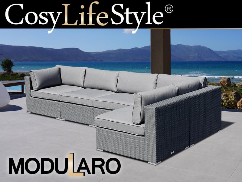Polyrattan Lounge Sofa I, 5 Module, Modularo, Grau ...