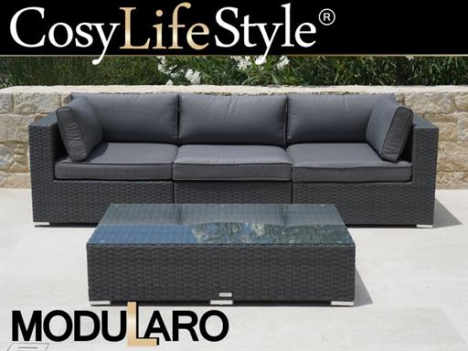 Salon de jardin en poly rotin II, 4 modules, Modularo, gris