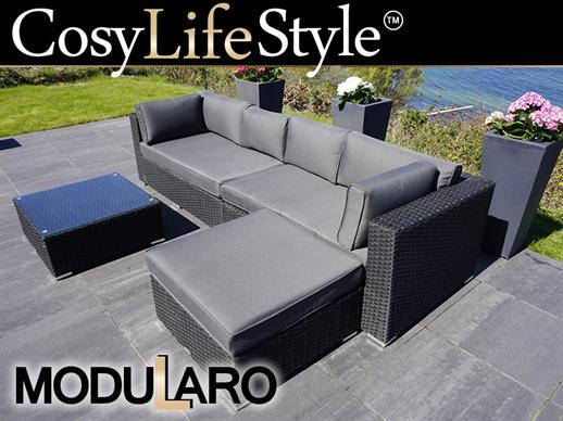 Poly rattan Lounge Set III, 4 modules, Modularo, Black