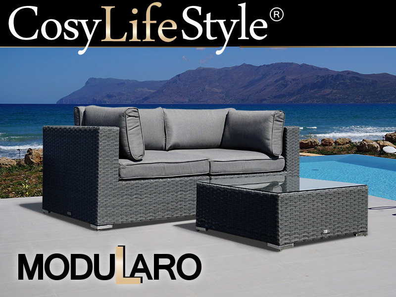 polyrattan lounge set 3 module modularo grau dancovershop de. Black Bedroom Furniture Sets. Home Design Ideas