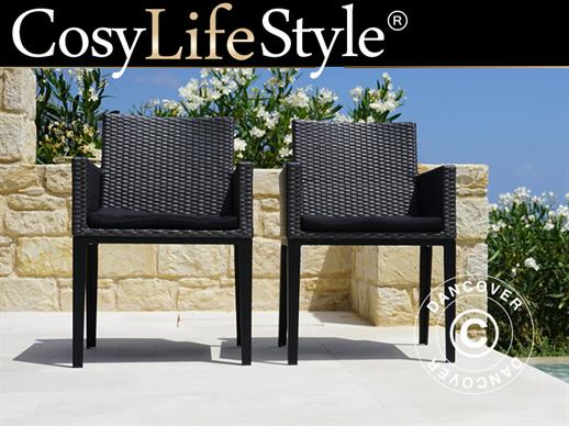 Poly rattan garden chair Miami, Grey, 2 pcs.