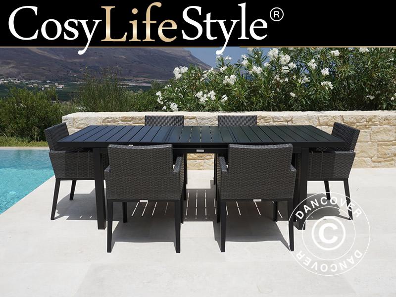 Salon de jardin Miami, 1 table + 6 chaises, noir/gris - Dancovershop FR