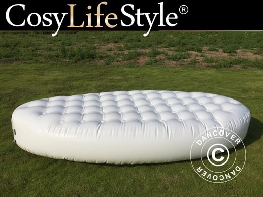 Inflatable bench, Chesterfield style, 1.5x3x0.45 m, White