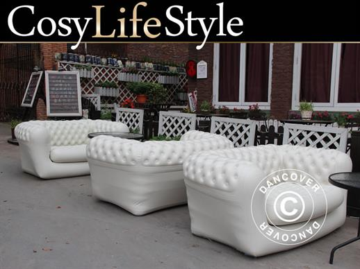Canapé gonflable, style Chesterfield, 2 places, Blanc-cassé