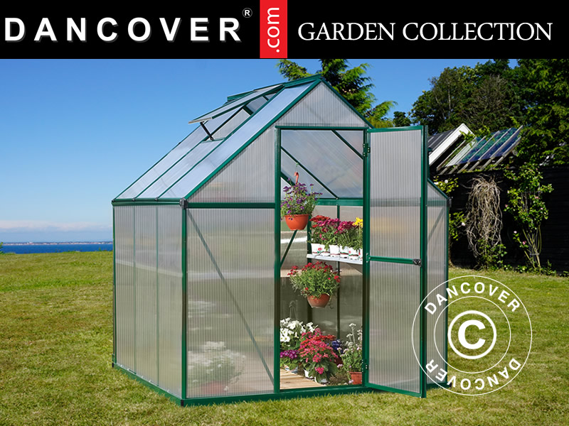 Greenhouse polycarbonate 3 4 m², 1 85x1 86x2 08 m, Green