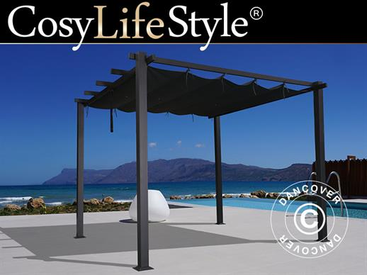 Pergola Gazebo Santa Cruz, 3x4 m, Black/Grey