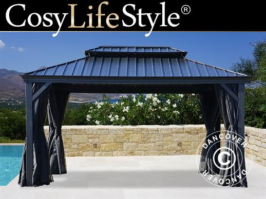 Gazebo San Diego w/curtains and mosquito net, 3x4.2 m, Black