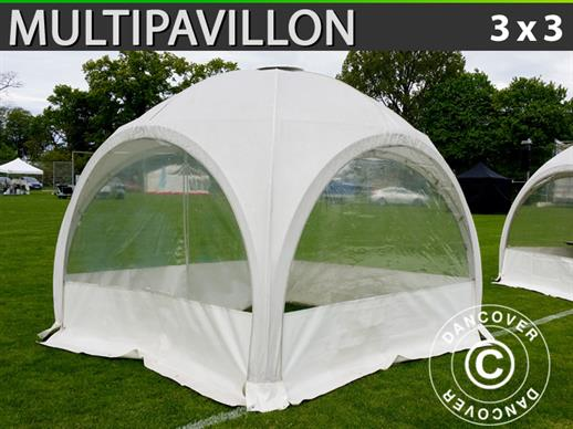 Tente de réception dome Multipavillon 3x3m, Blanc