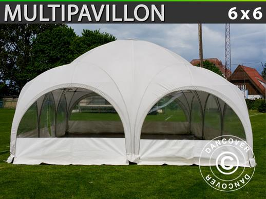 Tente de réception dome Multipavillon 6x6m, Blanc