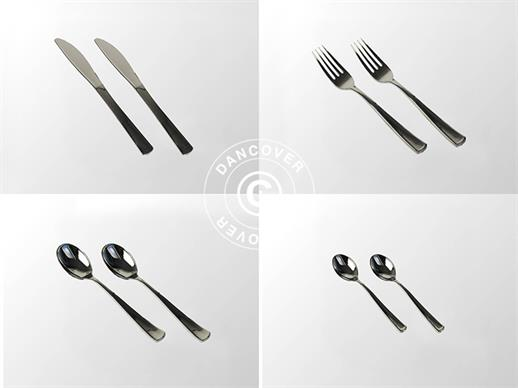 Plastic cutlery set, Silver-coloured