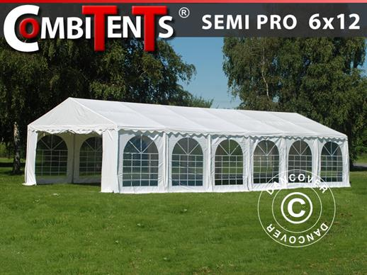 Carpa para fiestas, SEMI PRO Plus CombiTents® 6x12m 4 en 1, Blanco