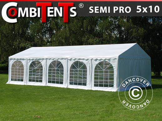 Carpa para fiestas, SEMI PRO Plus CombiTents® 5x10m, 3 en 1, Blanco