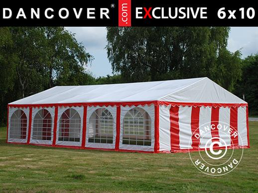 Partyzelt Exclusive 6x10m PVC, Rot/Weiß