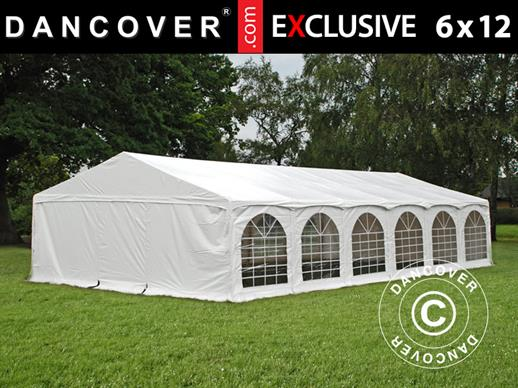 "Partytelt Exclusive 6x12m PVC, ""Arched"", Hvit"