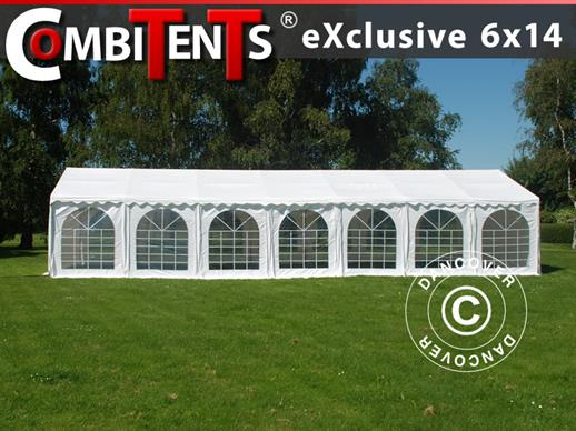 Tendone per feste, Exclusive CombiTents® 6x14m, 5 in 1, Bianco