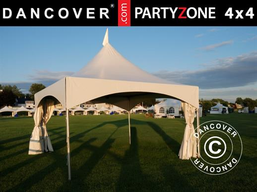 Pagodetent PartyZone 4x4m, PVC, Wit