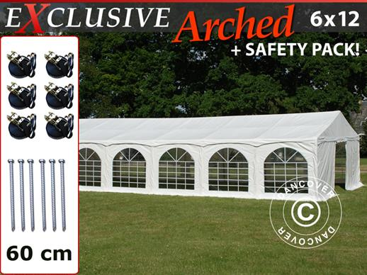 "Marquee Exclusive 6x12 m PVC, ""Arched"", White"