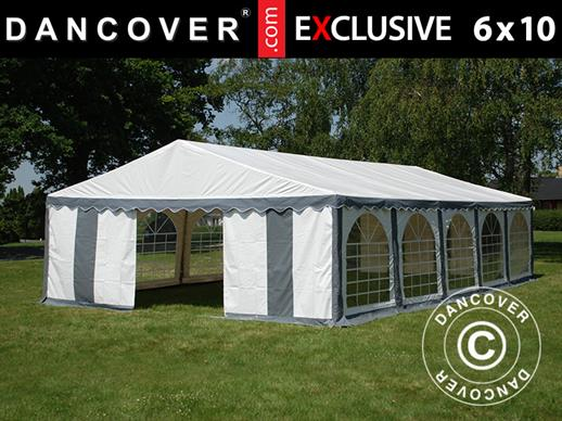 Partytent Exclusive 6x10m PVC, Grijs/Wit
