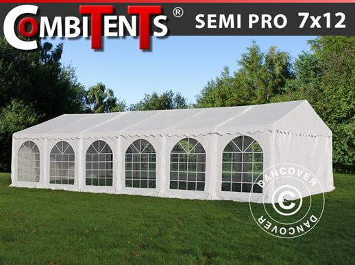 Tendone per feste, SEMI PRO Plus CombiTents® 7x12m 4 in 1, Bianco