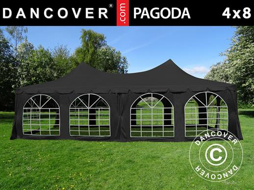 Partytelt Pagoda 4x8m, Sort