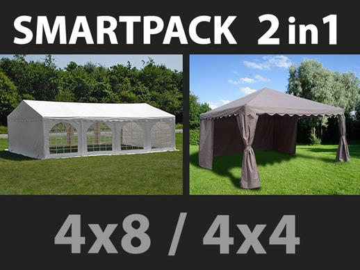 Solution SmartPack 2 en 1: Tente de réception Original 4x8m, Blanc/tonnelle 4x4m, sable