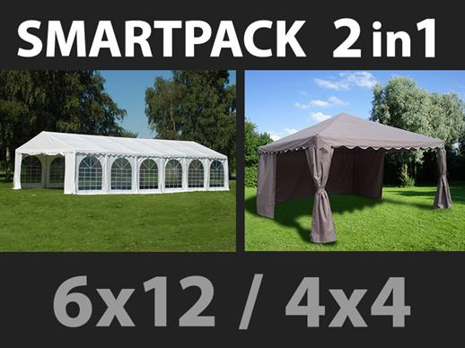 Solution SmartPack 2 en 1: Tente de réception Exclusive 6x12m, Blanc/tonnelle 4x4m, sable