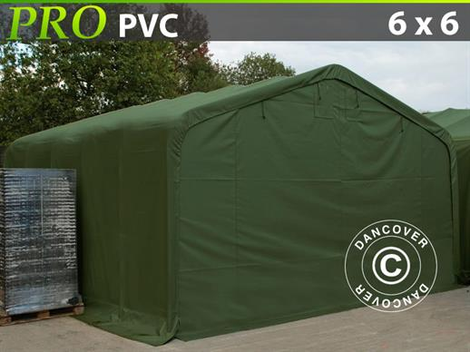 Storage shelter PRO 6x6x3.7 m PVC, Green ONLY 1 PC. LEFT