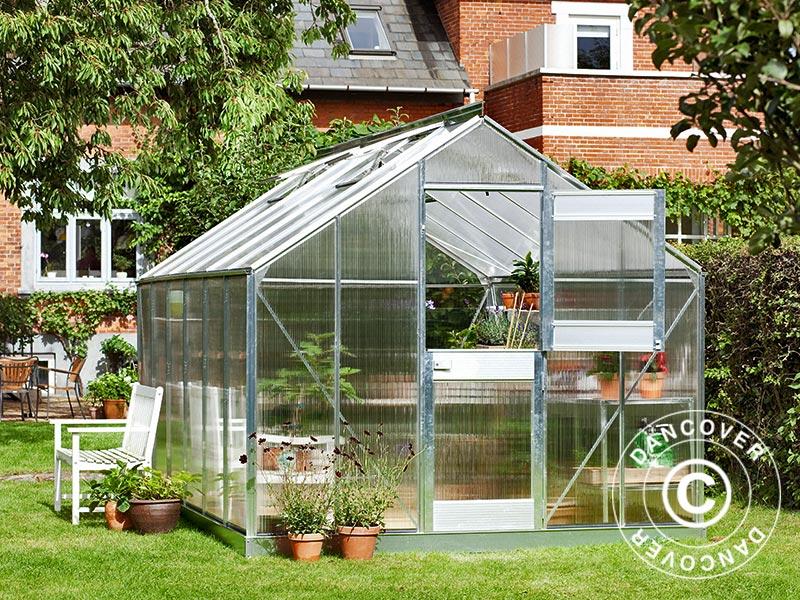 Serre de jardin Polycarbonate Juliana Junior 12,1m², 2,77x4,41x2,57m,  Aluminium