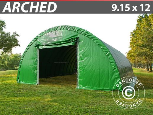 Arched Storage tent 9.15x12x4.5 m, PVC Green