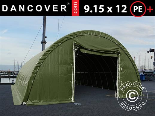 Arched storage tent 9.15x12x4.5 m PE, w/ skylight, Green