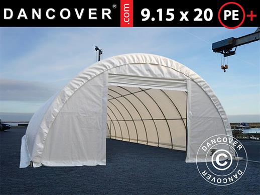 Arched storage tent 9.15x20x4.5 m PE, White