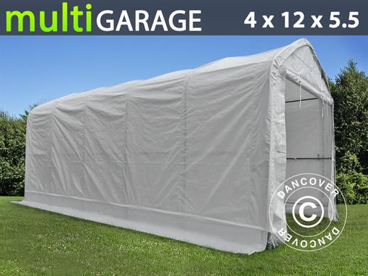 Tente de Stockage multiGarage 4x12x4,5x5,5m, Blanc