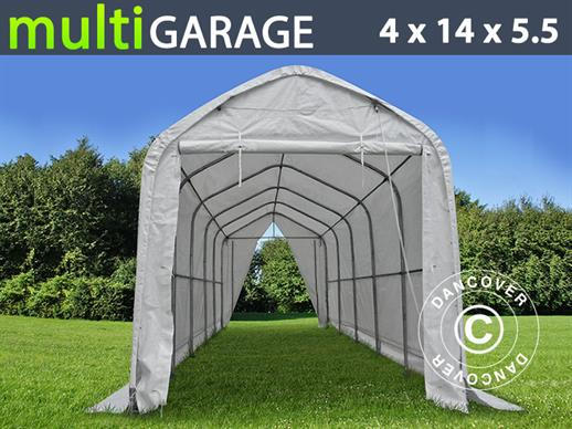 Tente de Stockage multiGarage 4x14x4,5x5,5m, Blanc