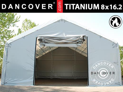Storage shelter Titanium 8x16.2x3x5 m, White/Grey