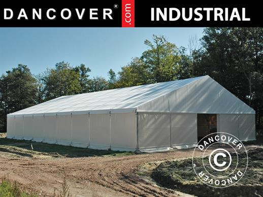 Industrial storage shelter Steel 12x25x6.18 m w/sliding gate, PVC, White