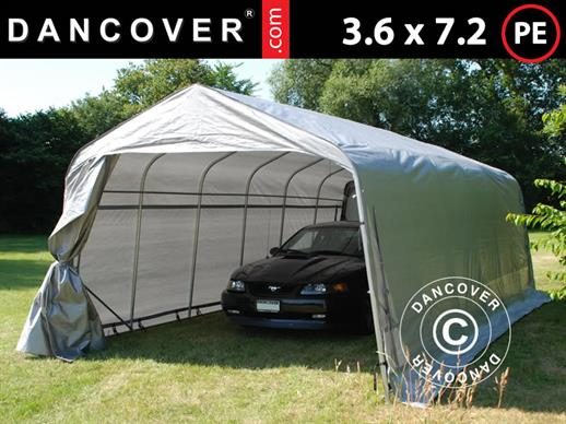 Portable Garage PRO 3.6x7.2x2.68 m PE, Grey