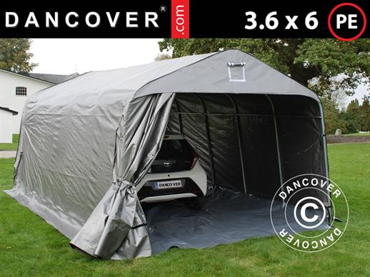Portable Garage PRO 3.6x6x2.68 m PE, with ground cover, Grey