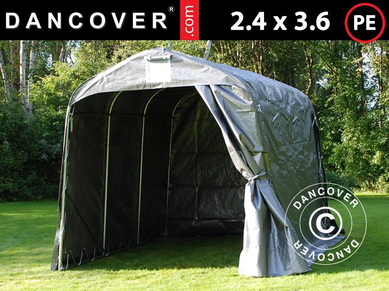 Storage tent PRO 2.4x3.6x2.34 m PE Grey & Portable garage 24x36x24 m. Portable garage PE. Storage tents ...