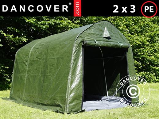 Storage tent PRO 2x3x2 m PE, with ground cover, Green/Grey