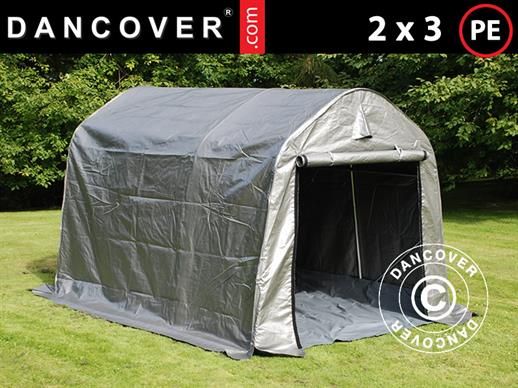 Storage tent PRO 2x3x2 m PE, with ground cover, Grey