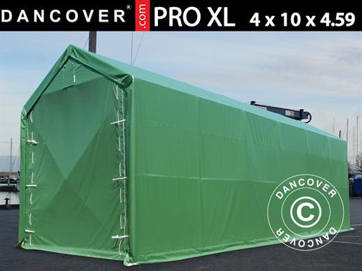 Storage shelter PRO XL 4x10x3.5x4.59 m, PVC, Green