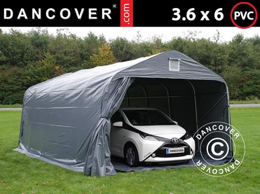 Portable garage PRO 3.6x6x2.7 m PVC with ground cover, Grey