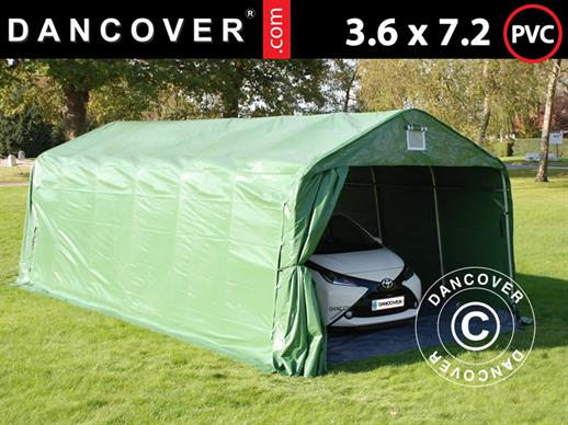 Portable Garage PRO 3.6x7.2x2.68 m PVC, with ground cover, Green/Grey